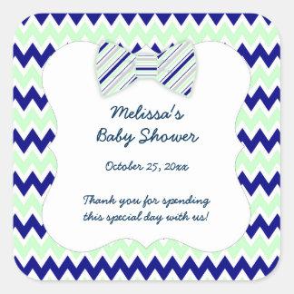 Navy Mint Chevron bow tie boy baby shower favor Square Sticker