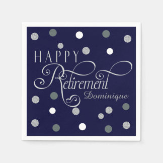 Navy Modern Retirement Party, Custom Napkins Paper Napkins