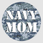 Navy Mom Camouflage Round Round Sticker