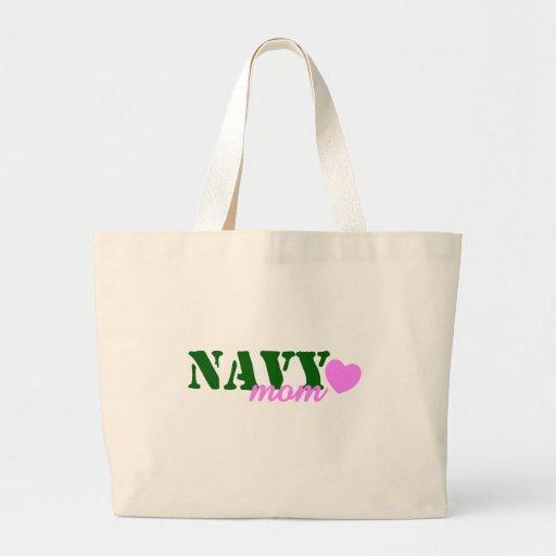 Navy Mom Green Pink Canvas Bag
