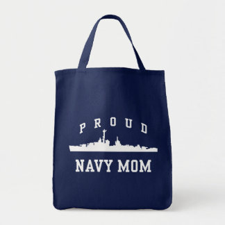 Navy Mom Grocery Tote Bag