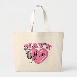 Navy Mom Heart N Dog Tag Jumbo Tote Bag