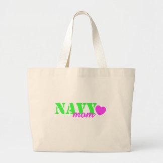 Navy Mom Lime Green Canvas Bag