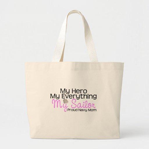 Navy Mom My Hero Canvas Bag