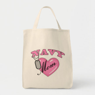 Navy Mom Pink Heart N Dog Tags Grocery Tote Bag