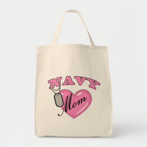 Navy Mom Pink Heart N Dog Tags Bags