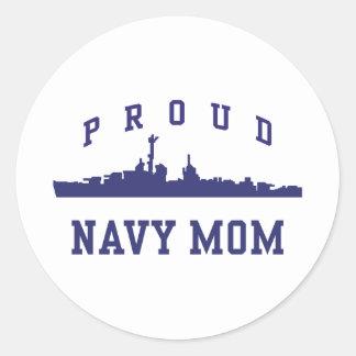 Navy Mom Round Sticker