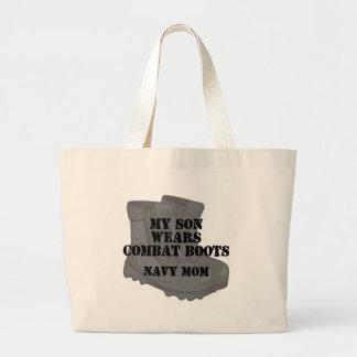 Navy Mom Son CB Tote Bag