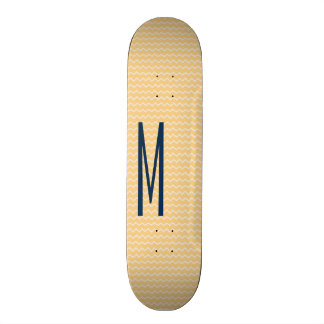 Navy Monogram on Mini Orange Chevron Pattern Skateboards