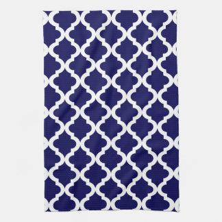 Navy Moroccan Quatrefoil Print Kitchen Towel