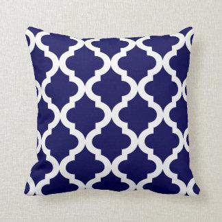 Navy Moroccan Quatrefoil Print Throw Pillow