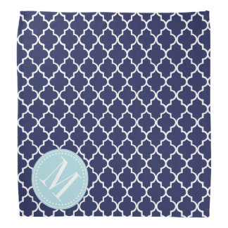 Navy Moroccan Tiles Lattice Personalized Bandana