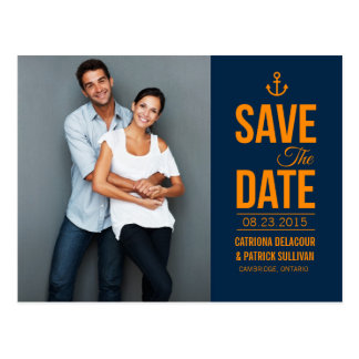 NAVY & MUSTARD NAUTICAL SAVE THE DATE POSTCARD