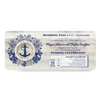 "Navy Nautical Anchor Boarding Pass Wedding Ticket 4"" X 9.25"" Invitation Card"