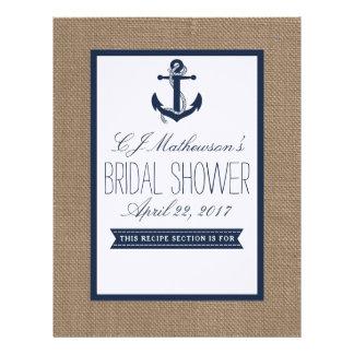 Navy Nautical Anchor Bridal Shower Recipe Divider Letterhead