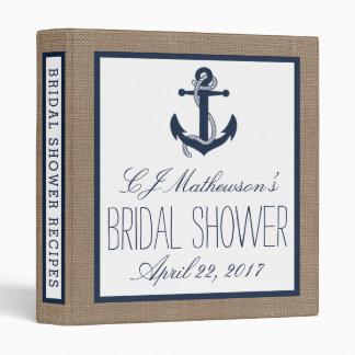 Navy Nautical Anchor Burlap Bridal Shower Recipe Vinyl Binder