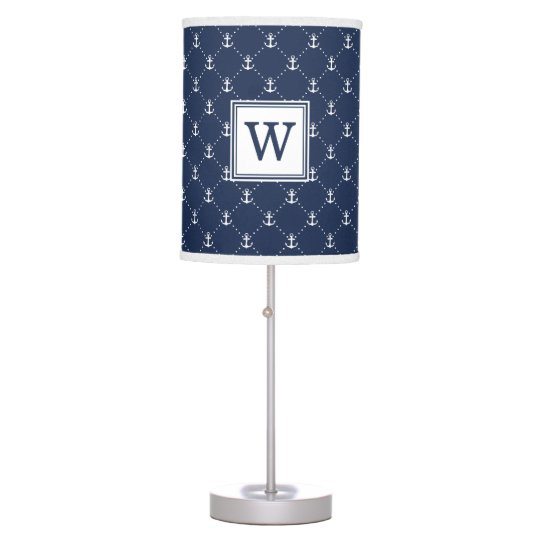 Navy Nautical Anchor Monogram Desk Lamps