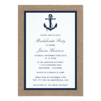 "Navy Nautical Anchor On Burlap Bachelorette Party 5"" X 7"" Invitation Card"