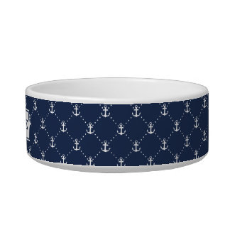 Navy Nautical Anchor Pattern Personalized Bowl