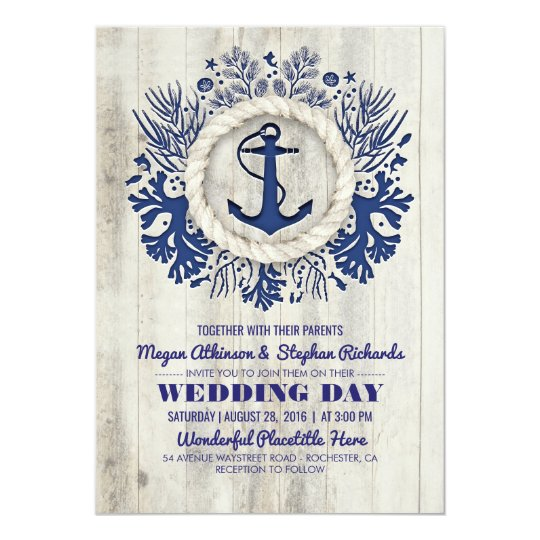Navy Nautical Anchor Rustic Beach Wedding Card