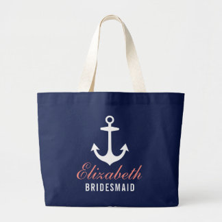 Navy Nautical Anchor | Wedding Bridal Party Large Tote Bag