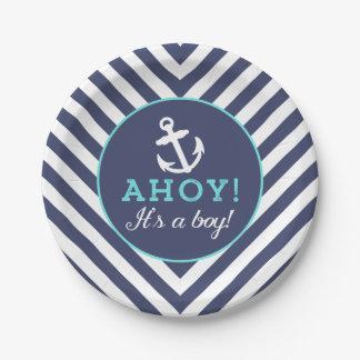 Navy Nautical Chevron Baby Shower Paper Plates