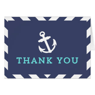 Navy Nautical Chevron Thank You Card