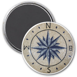 Navy Nautical Compass North south East West Marble Refrigerator Magnets