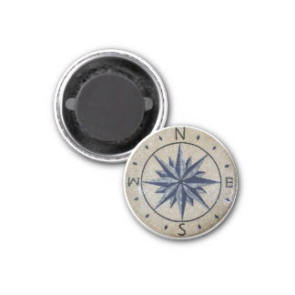 Navy Nautical Compass North south East West Marble Magnet