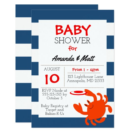 Navy Nautical Crab Baby Shower Invitation