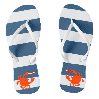 Navy Nautical Crab Flip Flops