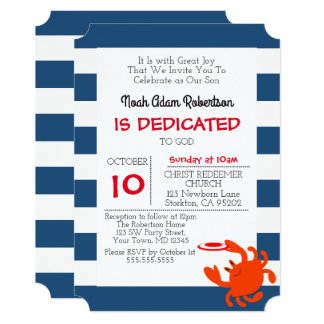 Navy Nautical Crab Personalized Baptism Card