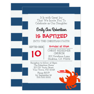 Navy Nautical Crab Personalized Small Baptism Card