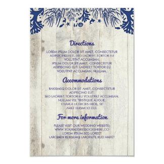 Navy Nautical Driftwood Beach Wedding Details Card