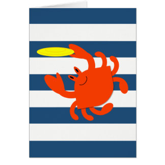 Navy Nautical Frisbee Crab Note Card
