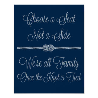 Navy Nautical Knot Choose Seat Not Side Sign