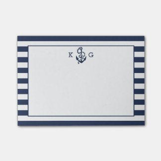 Navy Nautical Preppy Stripe & Anchor Monogram Post-it Notes