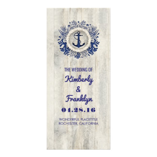 Navy Nautical Rustic Driftwood Beach Wedding Rack Card
