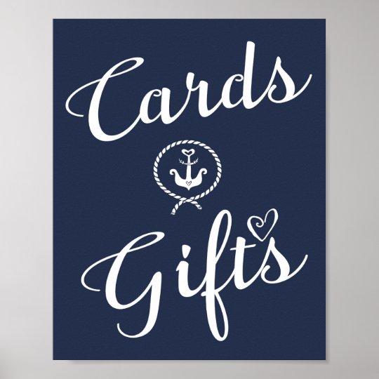 Navy Nautical wedding cards & Gift print