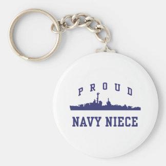 Navy Niece Basic Round Button Keychain