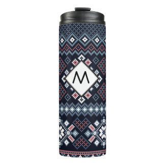 Navy Nordic Cross Stitch Sweater Pattern Thermal Tumbler