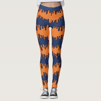 Navy & Orange Drippy Pattern Leggings