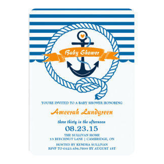 Navy & Orange Nautical Baby Shower Invitation