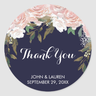 Navy pale pink floral thank you stickers wedding