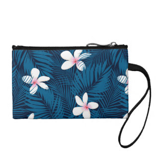 Navy palm leaves with frangipani coin purse