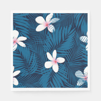 Navy palm leaves with frangipani disposable napkins