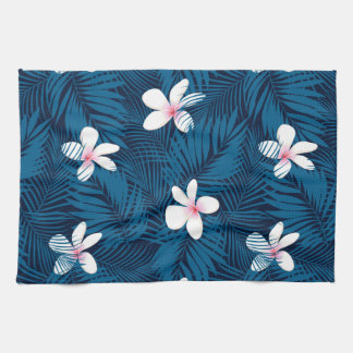 Navy palm leaves with frangipani kitchen towel