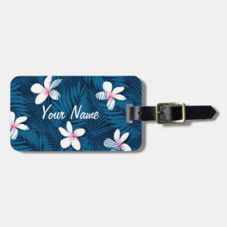 Navy palm leaves with frangipani luggage tag