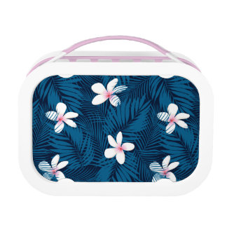 Navy palm leaves with frangipani lunch box