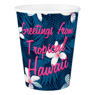 Navy palm leaves with frangipani paper cup